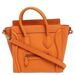 Céline Orange Leather Nano Luggage Tote