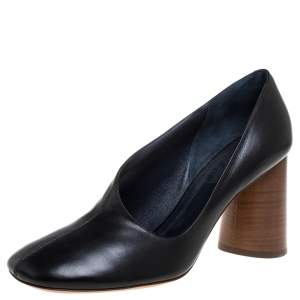 Celine Black Leather D'orsay Block Heel Pumps Size 39