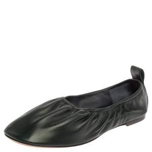 Celine Green Leather Scrunch Ballet Flats Size 39