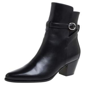 Celine Black Leather Block Heel Ankle Boots Size 37