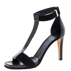 Celine Black Leather and Suede T Strap Platform Sandals Size 40