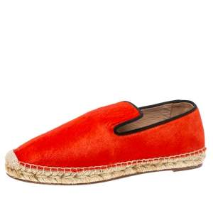 Celine Orange Calf hair Slip On Espadrille Loafer Flats Size 41