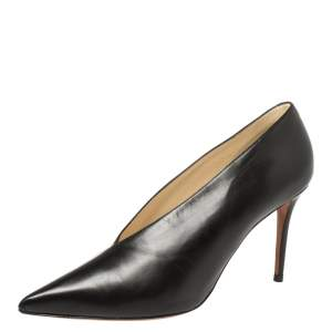Celine Black Leather V Neck Pointed Toe Pumps Size 39