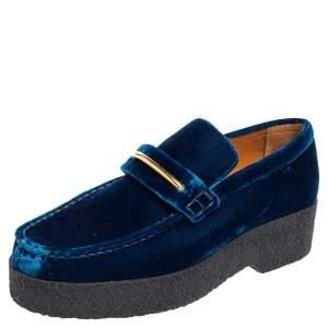 Celine Blue Velvet Sleek Platform Loafers Size 38