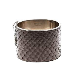 Celine Grey Python Leather Silver Tone Wide Cuff Bracelet