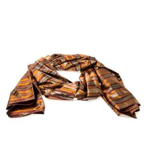 Celine Multicolor Metallic Striped Silk Scarf