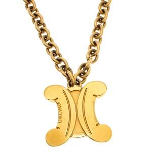 Celine Vintage Gold Tone Logo Pendant Blazon Necklace