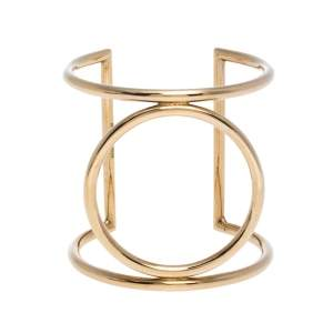 Céline Open Circle Wire Gold Tone Cuff Bracelet