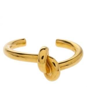 Céline Gold Tone Thick Knot Open Cuff Bracelet L