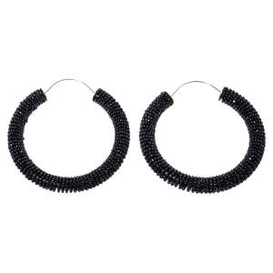 Celine Black Beaded Hoop Earrings