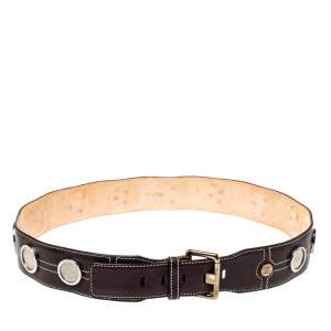 Celine Dark Brown Leather Coin Embellished Belt 90CM