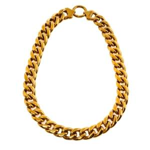 Céline Gold Tone Chunky Curb Chain Choker Necklace L