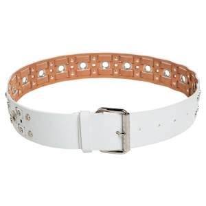 Celine White Leather Eyelet and Stud Detail Buckle Belt 90CM