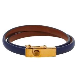 Celine Blue Leather Gold Tone Triple Tour Wrap Bracelet M