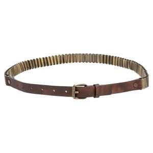 Celine Brown Metal And Leather Waist Belt 75 CM