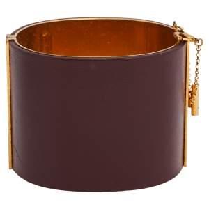 Céline Burgundy Leather Gold Tone Wide Cuff Bracelet M