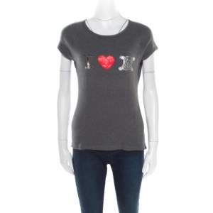 Celine Grey Embellished Cotton Short Sleeve T-Shirt M