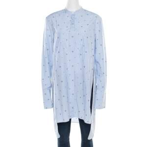 Celine Blue and White Striped Embroidered Cotton High Low Tunic M