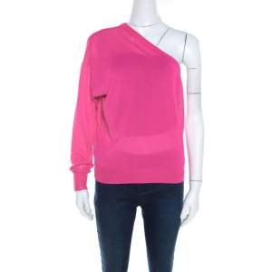 Celine Hot Pink Ribbed Knit One Shoulder Top M