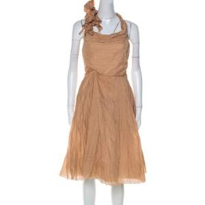 Céline Dusky Orange Silk Blend Ruched Detail Halter Neck Dress L
