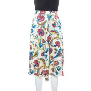 Celine Multicolor Printed Silk A-Line Skirt S