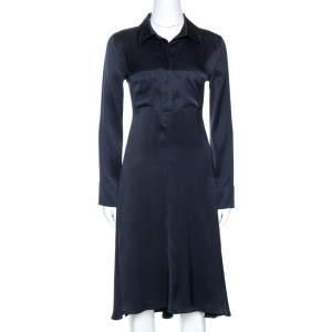 Celine Navy Blue Silk Satin Flared Shirt Dress S