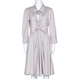 Celine Pale Grey Stretch Cotton Braided Front Detail Midi Dress L