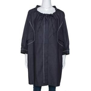 Celine Navy Blue Denim Button Front Tunic Jacket L