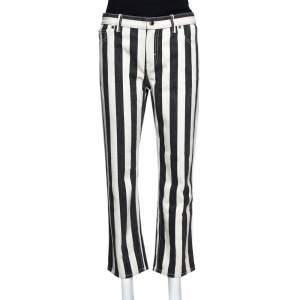 Celine Black Striped Cotton Denim Cropped Pants M