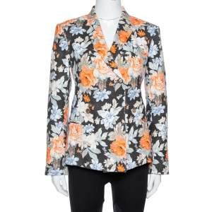 جاكيت بليزر سيلين قماش قطني بطبعة زهور متعدد الألوان مقاس متوسط - ميديوم