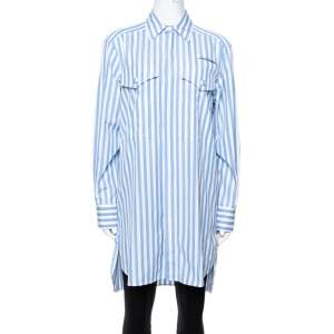 Celine Blue & White Striped Cotton Button Front Tunic S