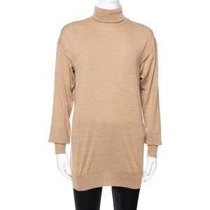 Celine Dark Beige Wool Contrast Stitch Detail Sweater S