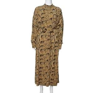 Celine Mustard Snake Print Jersey Belted Maxi Dress S