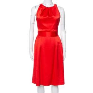 Celine Red Satin Open Back Bow Tie Waist Dress S