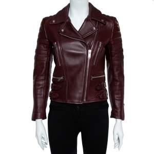 Celine Burgundy Leather Biker Jacket S