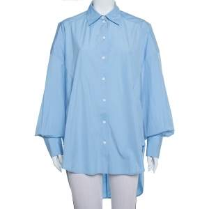 Celine Blue Cotton Paneled Oversized Shirt M