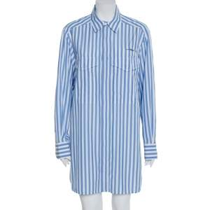 Celine Blue Striped Cotton Patch Pocket Detail Shirt Dress L