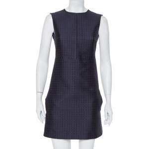 Celine Navy Blue Brocade Sleeveless Sheath Dress S
