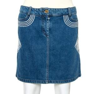Celine Blue Denim Embroidered Mini Skirt S