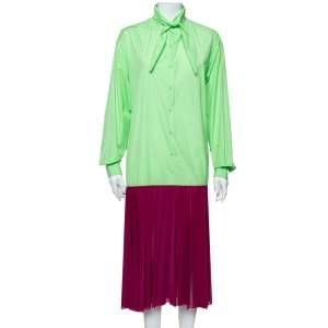 Celine Neon Green & Purple Color Block Reverse Closure Detail Oversized Midi Dress M