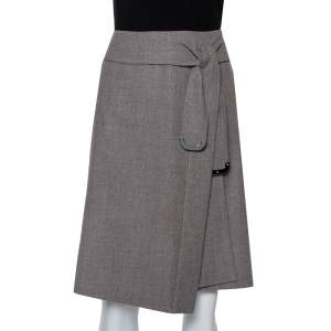 Celine Grey Wool Waist Tie Detail Faux Wrap Asymmetric Hem Skirt M