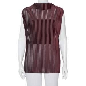 Celine Burgundy Striped Knit Structured Neck Detail Top S