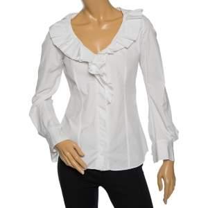 Celine White Cotton Ruffled Neck Detail Shirt M