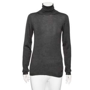 Celine Grey Cashmere Silk Turtle Neck Long Sleeve Jumper M