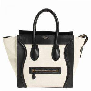 Celine Cream/Black Canvas and Leather Mini Luggage Tote
