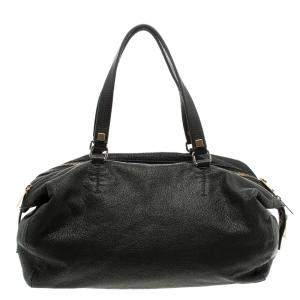 Celine Black Pebbled Leather Triple Zip Satchel