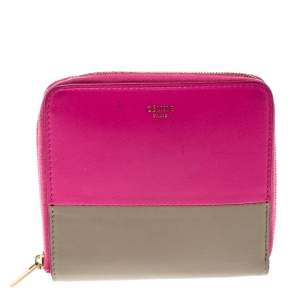 Celine Pink/Beige Leather Zip Around Compact Wallet