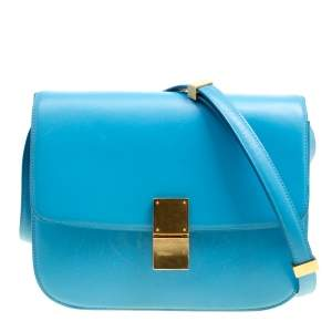 Celine Turquoise Leather Medium Classic Box Shoulder Bag
