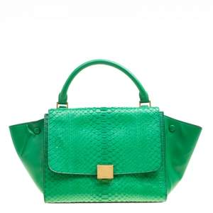 Celine Green Python and Leather Small Trapeze Bag