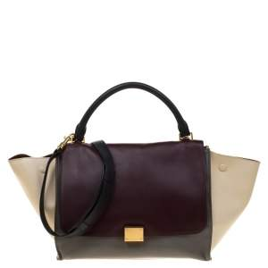 Celine Tri Color Leather Medium Trapeze Top Handle Bag